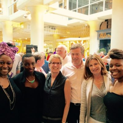 Obeah Opera performers with Ontario Premier Kathleen Wynn and Toronto Mayor John Tory